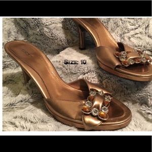Metallic Gold Clear & Copper Gem Heeled Shoes